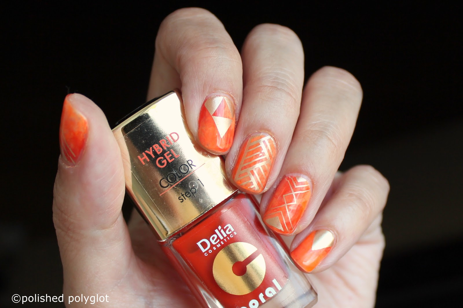 Nail art │Designs for short nails: Orange saran wrap / Polished ...