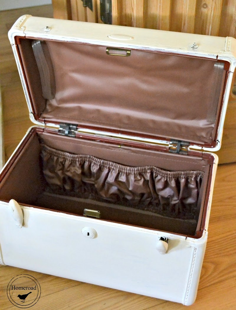 White French Suitcase Storage