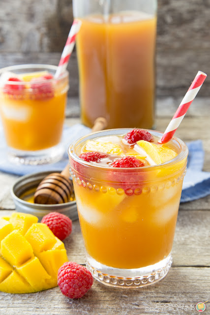 Easy Raspberry Mango Iced Tea | Cooking on the Front Burner