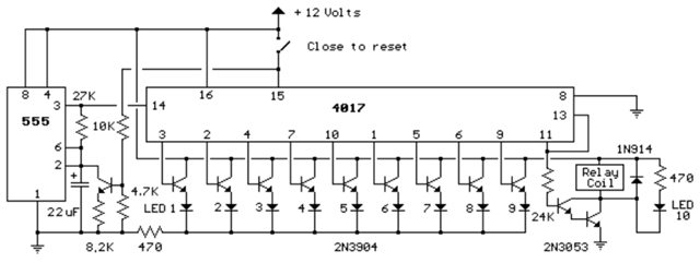 Raj's thoughts     : Nine Second LED Timer and Relay