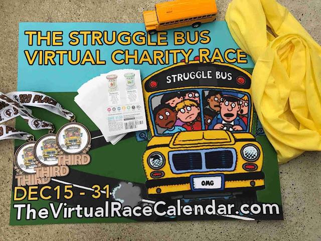 virtual race calendar the struggle bus 5k 10k half marathon school bus walk run medal arctic zero coupons