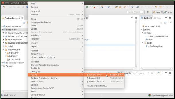 Java Web Application - Hello World