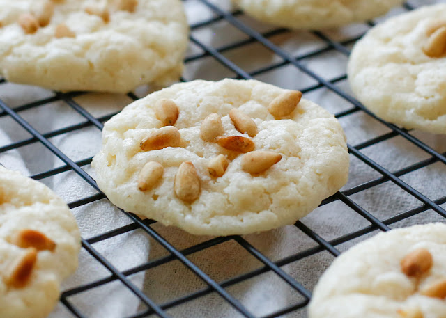 Pignoli Cookies (aka Pine Nut or Pinon Cookies) - get the recipe at barefeetinthekitchen.com