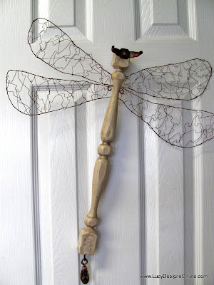 table leg dragonfly with wire wrapped wings
