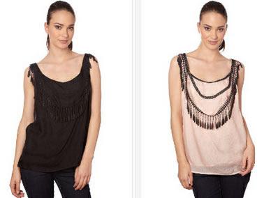 Tops de seda en color negro o rosa