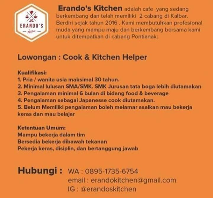 Lowongan Kerja Erando S Kitchen Pontianak Mediaku Info Referensi Indonesia