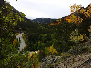 Fall colors in patches along a mountain pass.