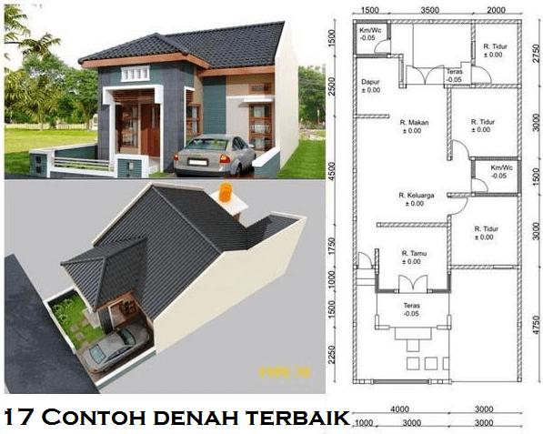 Denah dan Gambar Desain Rumah Minimalis Luas 7 x 14 m