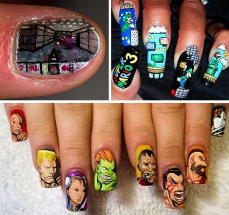 nail art - uñas decoradas estilo street figther