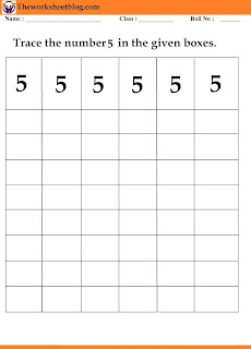 number 5 tracing worksheet