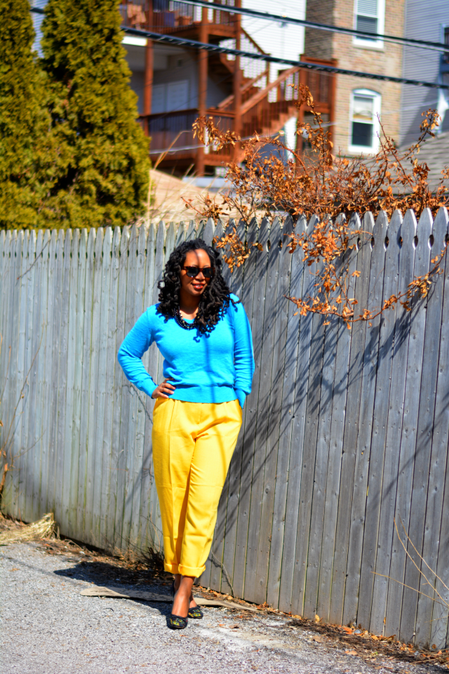 how to wear yellow pants spring