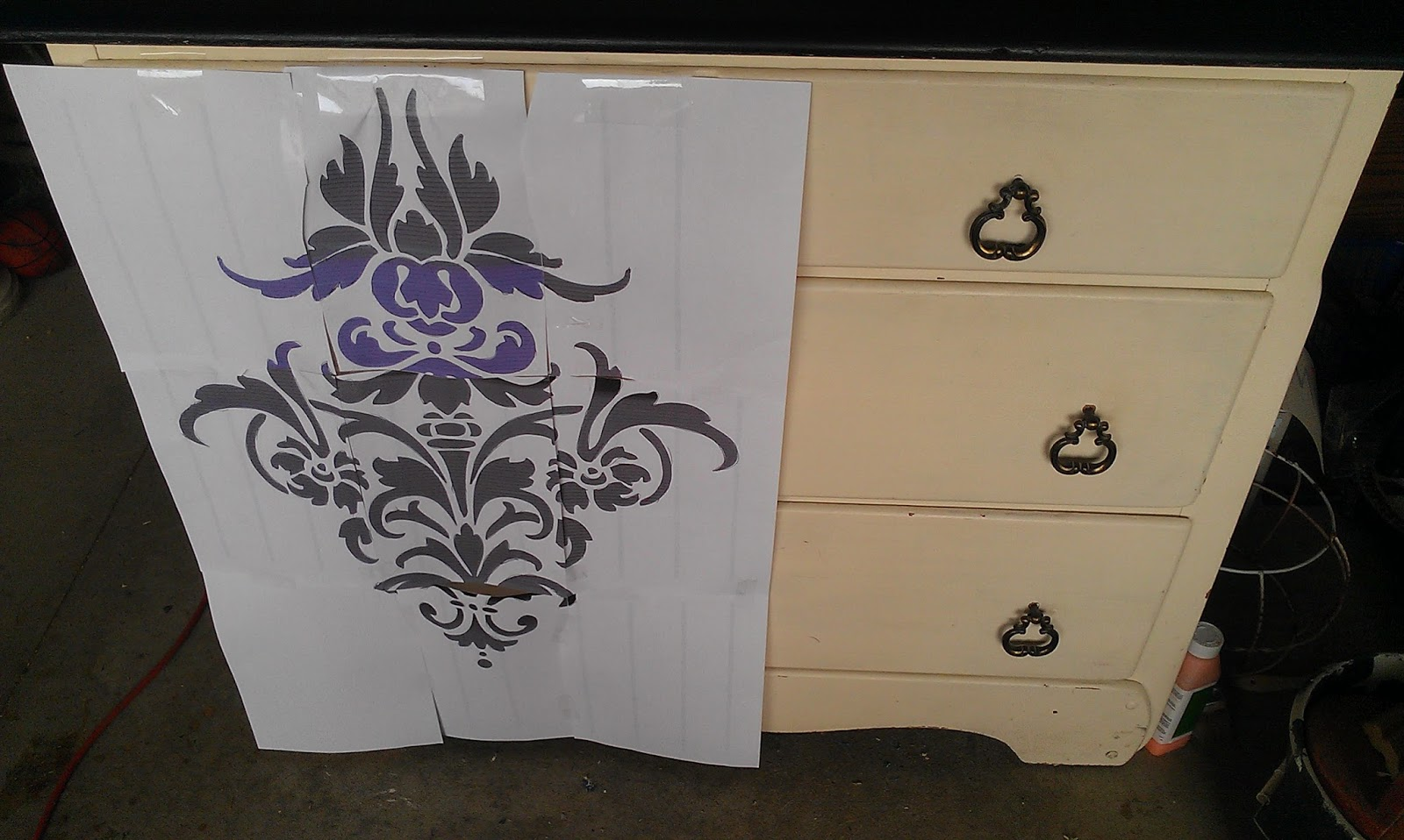 Thrifty Treasures Damask Painted Dresser