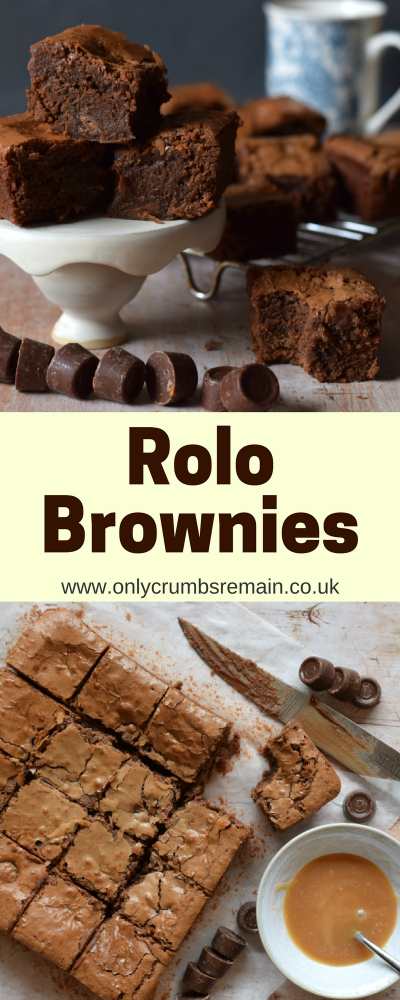 These chocolate brownies are perfect for Valentine's Day having rolos prodded into the batter.  Though in reality this tray bake is perfect at anytime of year
