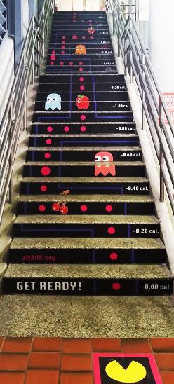 pacman sur l'escalier