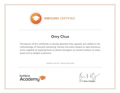 HubSpot Academy Inbound Marketing Certification of Onry Chua