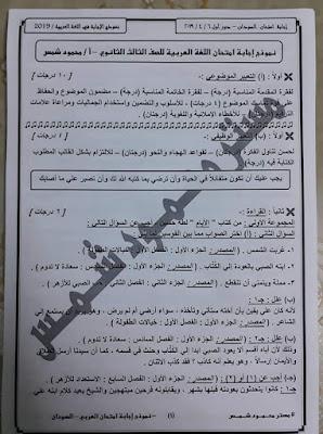 إجابة امتحان اللغة العربية - دور أول - السودان - 2019