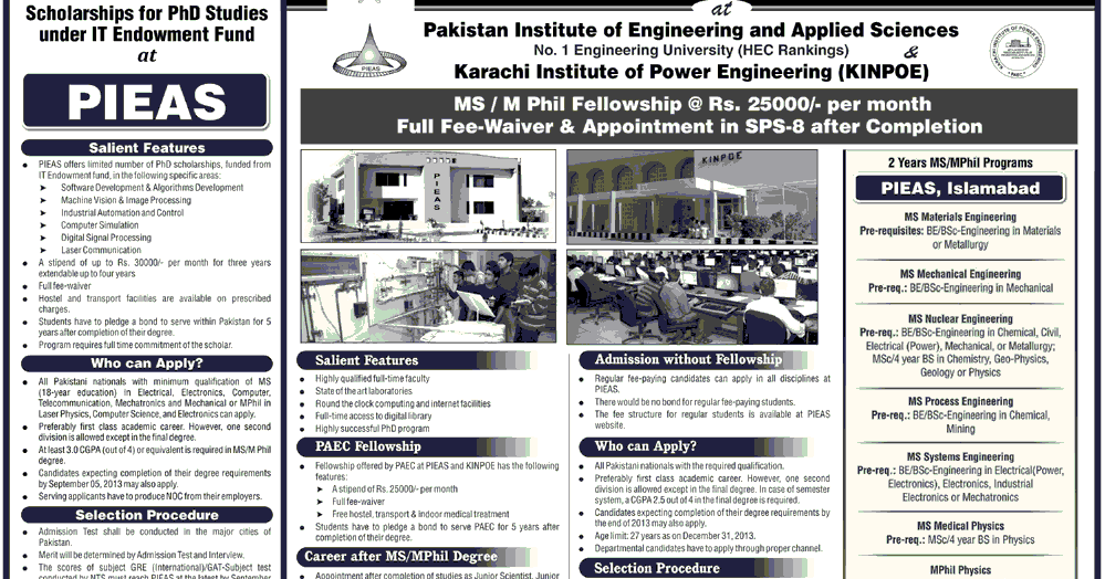 PIEAS MS/ Mphil Admissions 2013 PAEC Postgraduate Fellowships