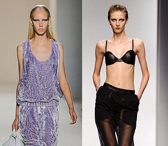 dos modelos anoréxicas en la pasarela