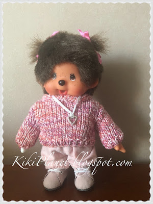 kiki monchhichi pull vêtement poupée handmade fait main knitting tricot sweat