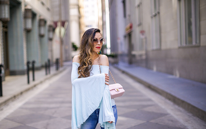 free people Birds of Paradise Off the Shoulder Top, blanknyc jeans, chloe sunglasses, elizabeth cole earrings, christian louboutin heels, chanel classic flap bag, san francisco street style, san francisco fashion blog, off shoulder bell sleeve top