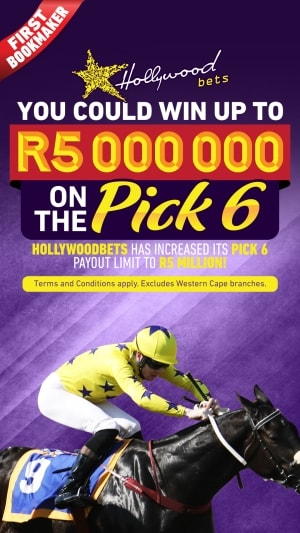 Hollywoodbets - You could win up to R5 Million on the Pick 6 with Hollywoodbets. Payout Limit has been increased. Terms and Conditons apply