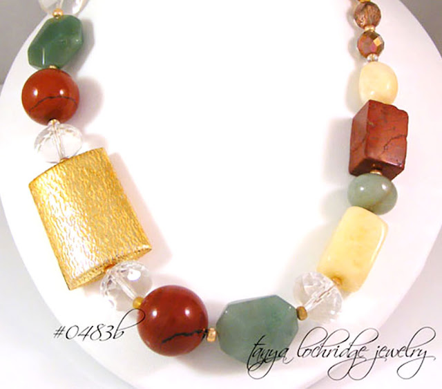 Tanya Lochridge Jewelry Red Poppy Jasper, Green Aventurine, Aragonite, African Opal Gemstone Necklace