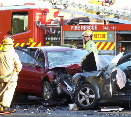 Police, fire service and St John Ambulance attended a fatal accident, a  two car head-on collision on Te Aute Rd, Havelock North. photograph