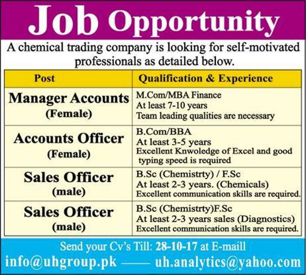 jobs in UH Group Chemical Trading Company October 2017.