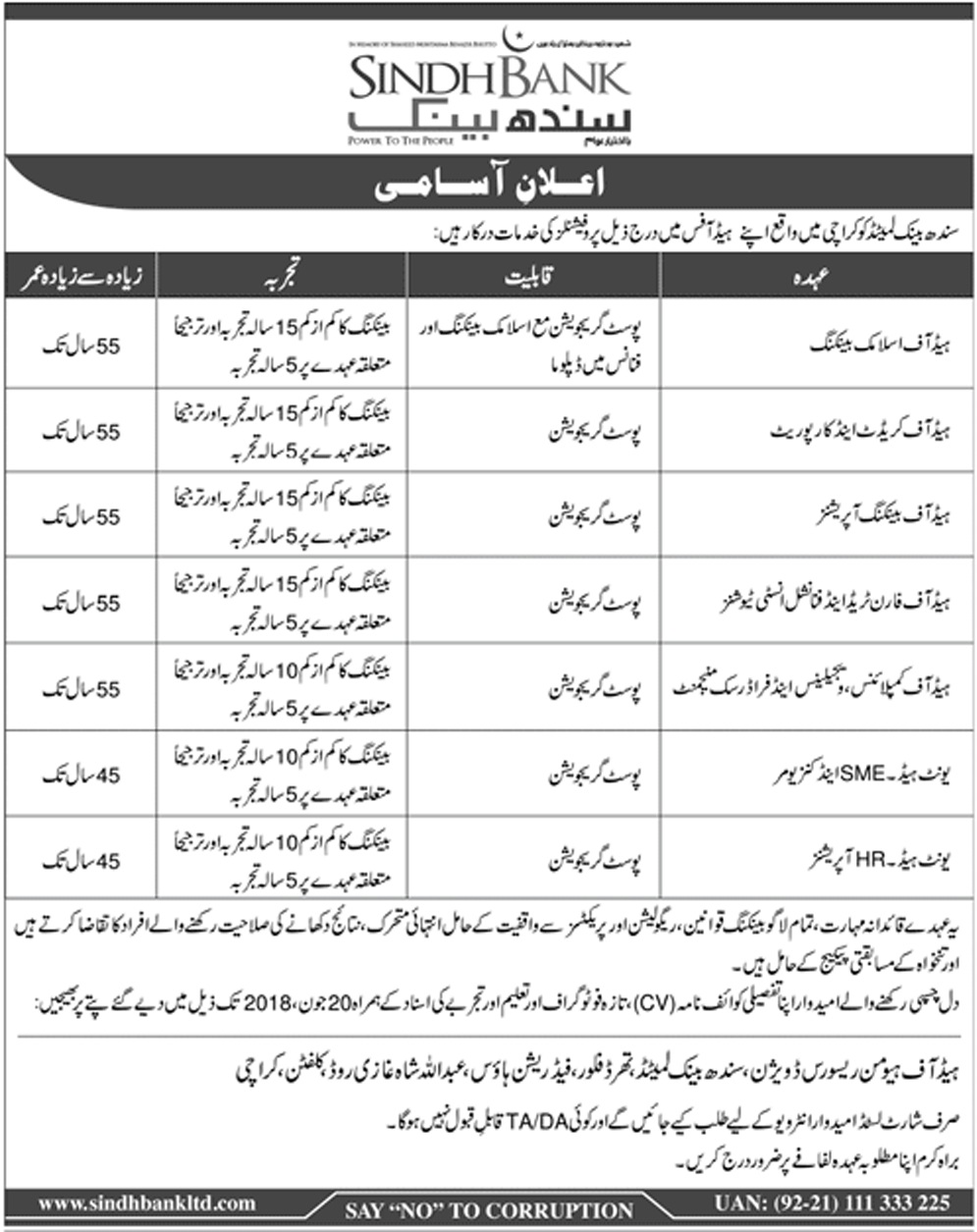 Sindh Bank Limited Latest jobs June 2018