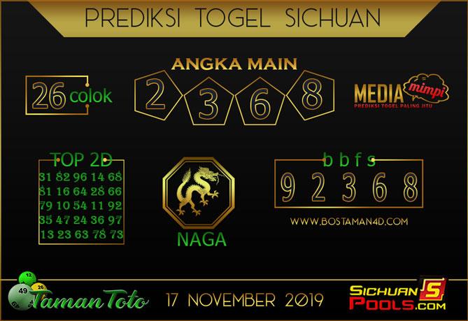 Prediksi Togel SICHUAN TAMAN TOTO 17 NOVEMBER 2019