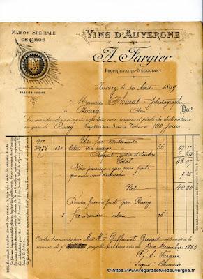 Vieille facture : Vins d'Auvergne en gros A. Fargier, Issoire.