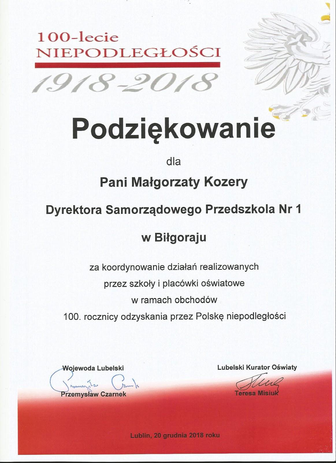 Samorządowe Przedszkole Nr 1 W Biłgoraju Rok Dla Niepodległej