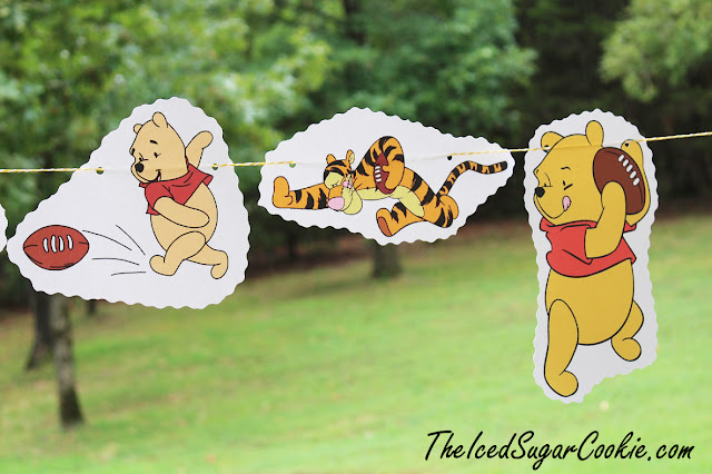 DIY Winnie The Pooh, Tigger, Piglet Football Flag Hanging Banner Ideas The Iced Sugar Cookie