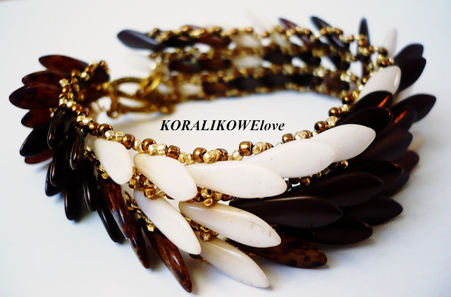 bransoletka z koralików ręcznie robiona dagger beads toho koraliki