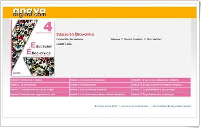 Actividades interactivas por unidades Anaya Digital Educación Ético Cívica Educación Secundaria