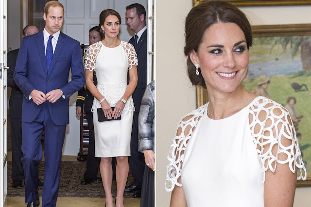 Kate looked chic in a white Lela Rose cocktail dress