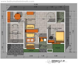 Denah rumah minimalis 2 kamar 1 lantai