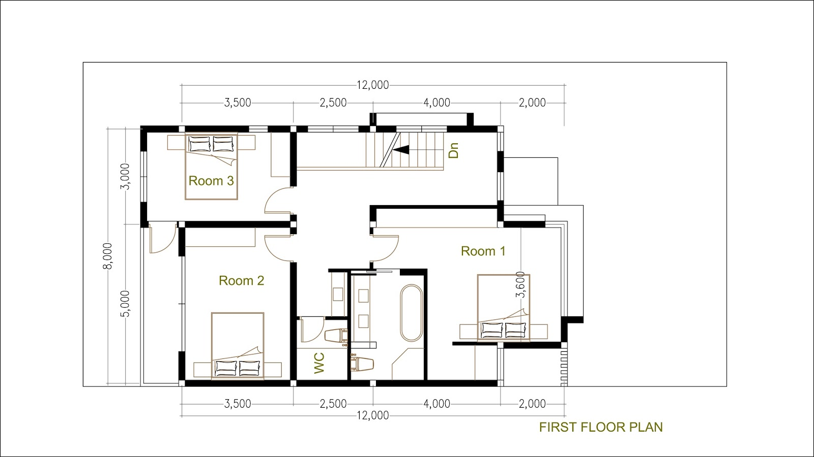 SketchUp Modern Home Plan Size 8x12m SaM ArchitecT