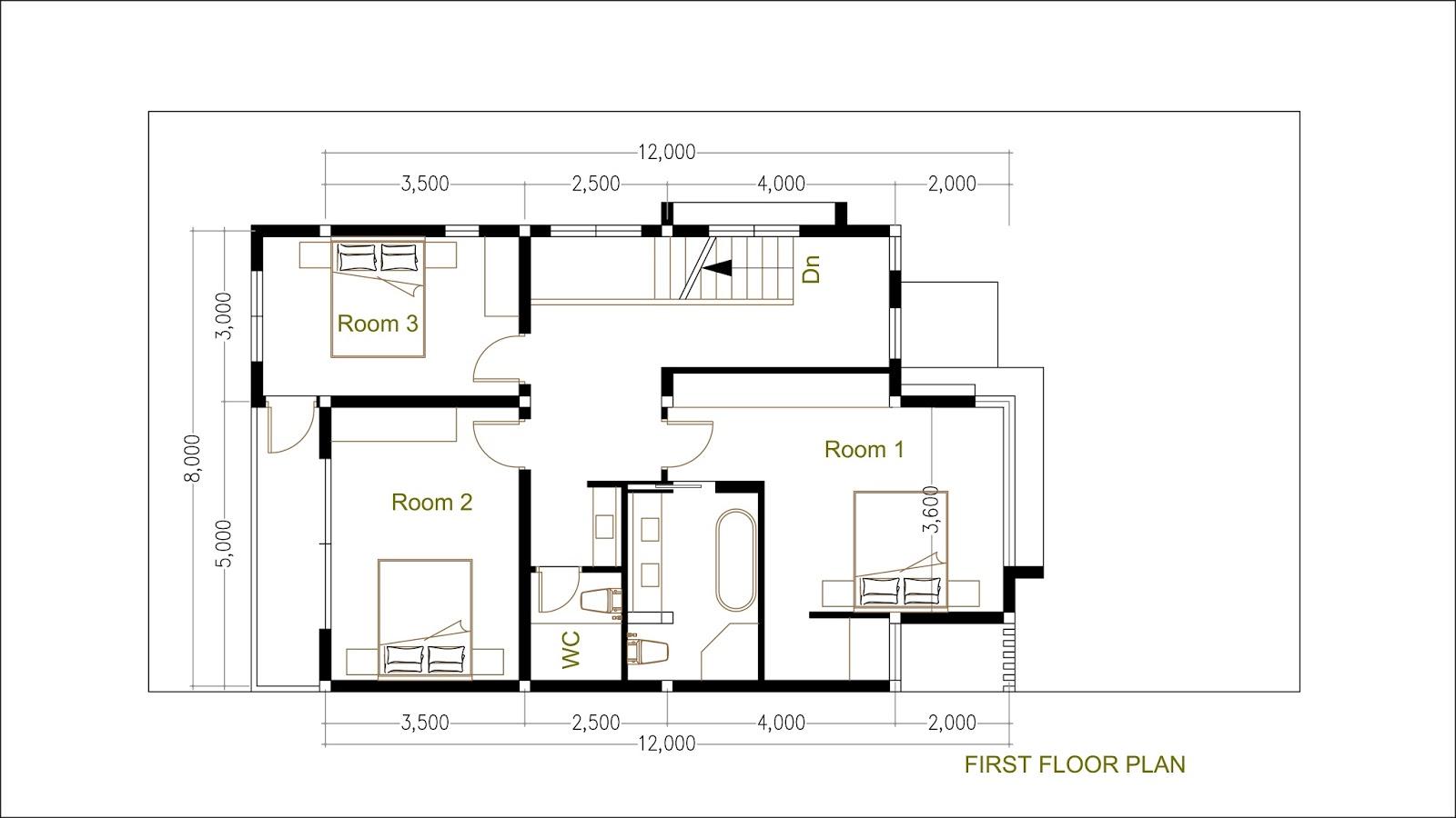 Sketchup modern home plan size 8x12m sam architect for Modern house design sketchup