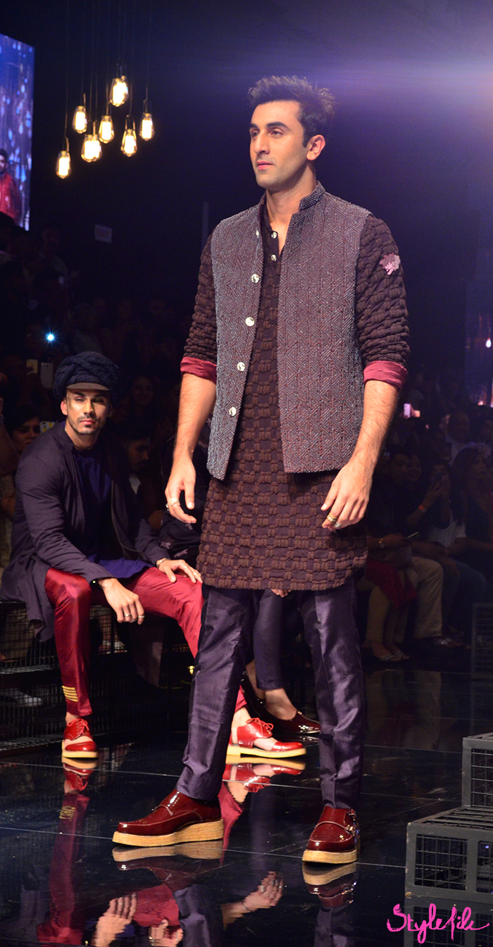 Bollywood actor Ranbir Kapoor walks the ramp for designer Kunal Rawal at Lakme Fashion Week in Mumbai India