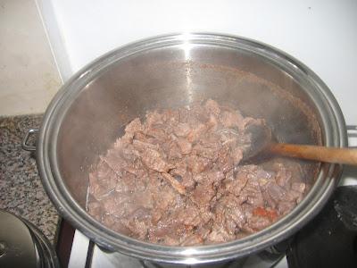 Cooking Nigerian beef sauce
