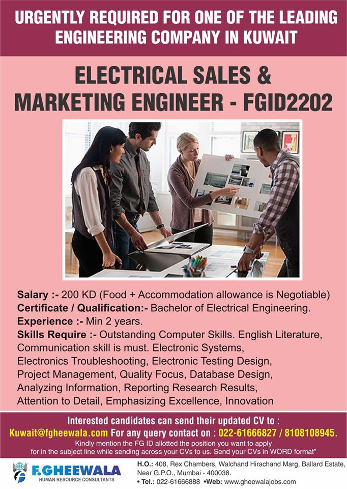 Electrical Sales & Marketing Engineer Urgently required for