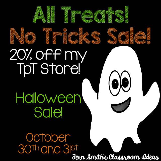 Fern Smith's Classroom Ideas Happy Halloween Sale, 2016 on TpT. No Tricks Just Treats for Teachers at my 20% Off at Teacherspayteachers store.