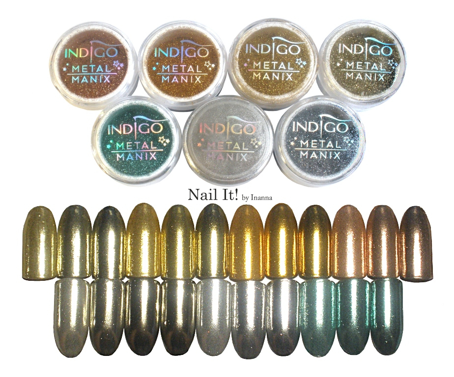 Compendium Indigo Metal Manix - swatches of all 7 powders, comparisons, review nad how to use them (SILVER, LIGHT GOLD, 24-CARAT GOLD, RUSSIAN GOLD, PINK GOLD, TIFFANY, MULTI CHROME)