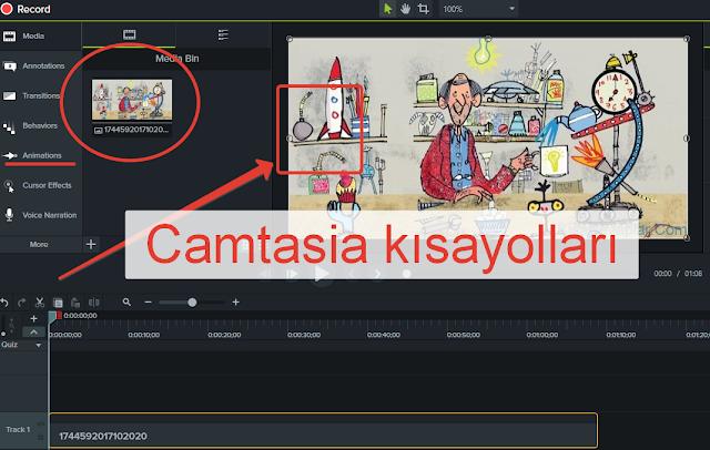 camtasia kısayolları