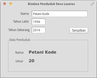 Program Lazarus Biodata Penduduk