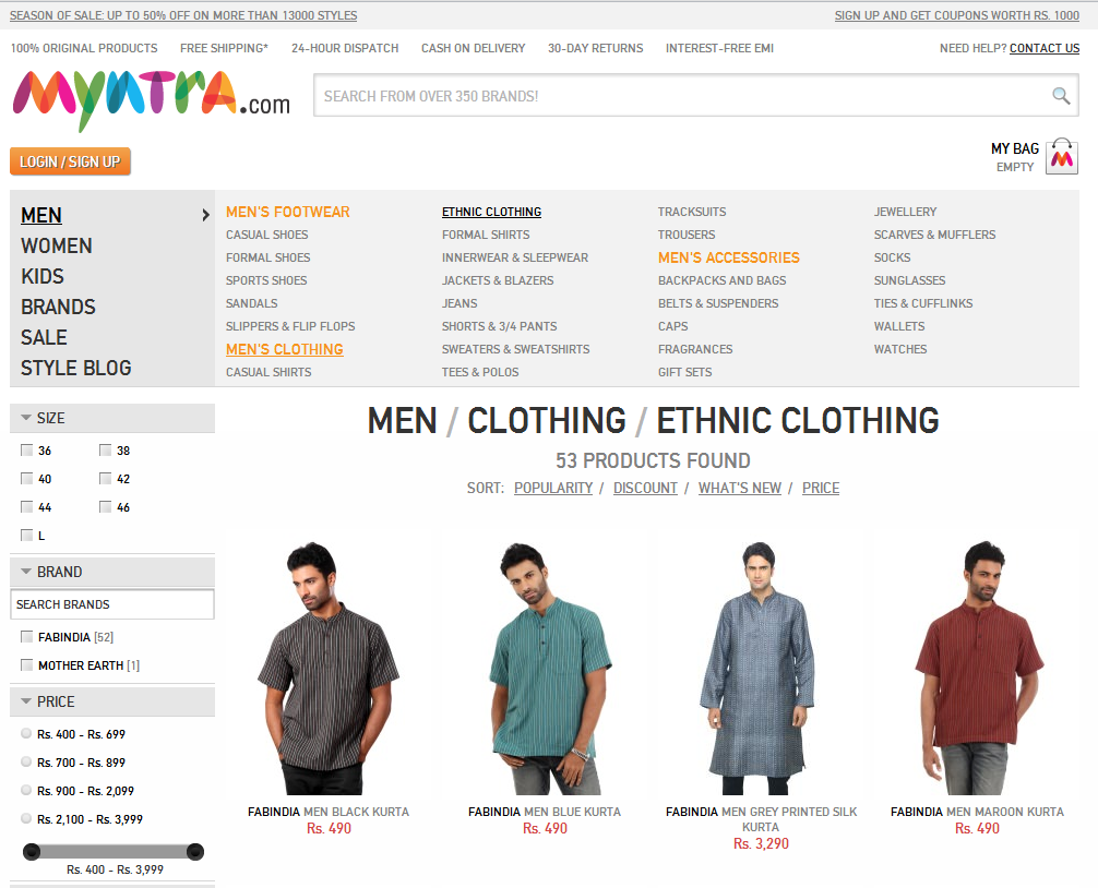Myntra clothing online shopping