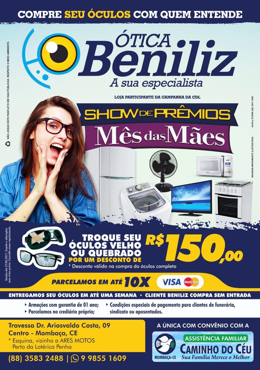 A Ótica Beniliz tem exame de vista toda sexta feira. Então ligue e marque  seu exame, os telefones são  88 3583 2488 ou WhatsApp 9 98551609 e74b3154bb