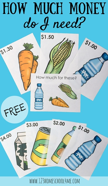 FREE Grocery cards allow kids to play and learn while they use math to add up the cost of various grocery items. This is such a fun money games for preschool, kindergarten, and 1st grade. Great math game for centers, at home, or homeschool too