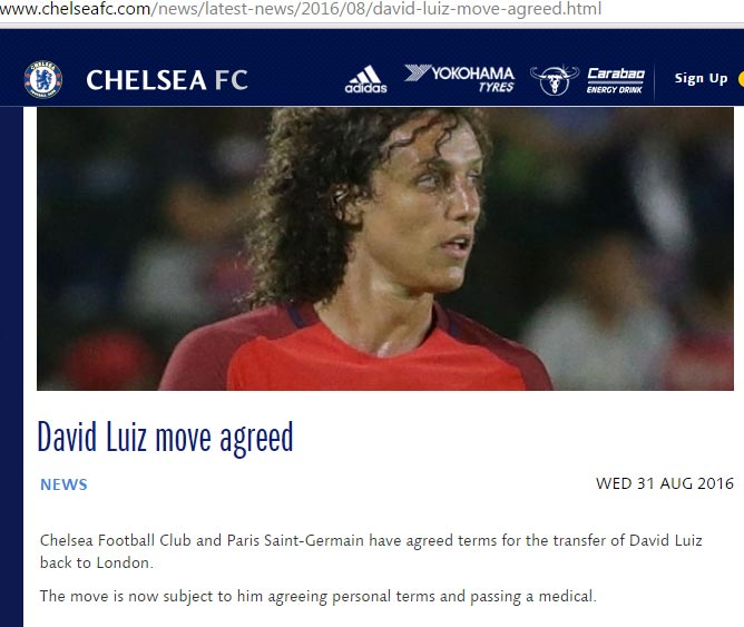 Chelsea confirm signing of David Luiz from PSG